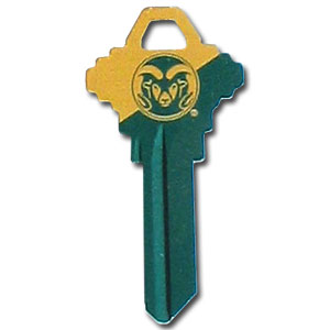 Schlage Key - Colorado State Rams - College house keys are a great way to show Colorado State Rams school spirit while keeping keys organized. Keys can be cut to fit your home or office Schlage keys (reference pre-fix CQK for Kwikset keys).  Thank you for shopping with CrazedOutSports.com