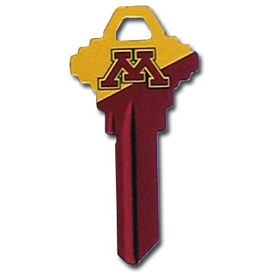 Minnesota Golden Gophers Schlage Key - Minnesota Golden Gophers Schlage Key house key is a great way to show school spirit while keeping keys organized. Keys can be cut to fit your home or office Schlage keys (reference pre-fix CQK for Kwikset keys).  Thank you for shopping with CrazedOutSports.com