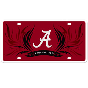 Alabama Crimson Tide Flame Plate - Our Alabama Crimson Tide styrene license plate features a wild flame design around the team logo. The plate comes with 4 suction cups for easy mounting to windows. Thank you for shopping with CrazedOutSports.com
