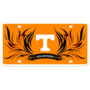 Tennessee Flame Plate - Our  Tennessee Volunteers styrene license plate features a wild flame design around the team logo. The plate comes with 4 suction cups for easy mounting to windows. Thank you for shopping with CrazedOutSports.com