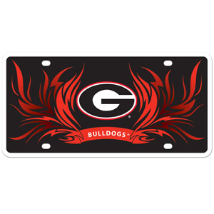 Georgia Bulldogs Flame Plate - These Georgia Bulldogs styrene license plate features a wild flame design around the Georgia Bulldogs team logo. The plate comes with 4 suction cups for easy mounting to windows. Thank you for shopping with CrazedOutSports.com
