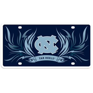 N. Carolina Flame Plate - Our  N. Carolina Tar Heels styrene license plate features a wild flame design around the team logo. The plate comes with 4 suction cups for easy mounting to windows. Thank you for shopping with CrazedOutSports.com