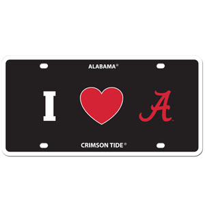I Love Alabama Plate. Alabama Crimson Tide - Show your love for your school with our Alabama Crimson Tide I Heart styrene license plate. The plate comes with 4 suction cups for easy mounting to windows. Thank you for shopping with CrazedOutSports.com