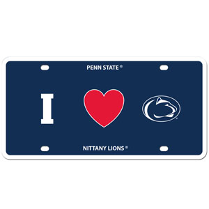 I Love PENN St. Plate - Show your love for your school with our Penn St. Nittany Lions I Heart styrene license plate. The plate comes with 4 suction cups for easy mounting to windows. Thank you for shopping with CrazedOutSports.com