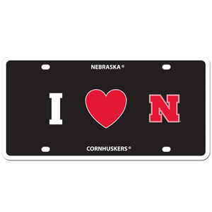 I Love Nebraska Plate - Show your love for your school with our Nebraska Cornhuskers I Heart styrene license plate. The plate comes with 4 suction cups for easy mounting to windows. Thank you for shopping with CrazedOutSports.com
