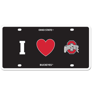 I Love Ohio St. Plate - Show your love for your school with our Ohio St. Buckeyes I Heart styrene license plate. The plate comes with 4 suction cups for easy mounting to windows. Thank you for shopping with CrazedOutSports.com