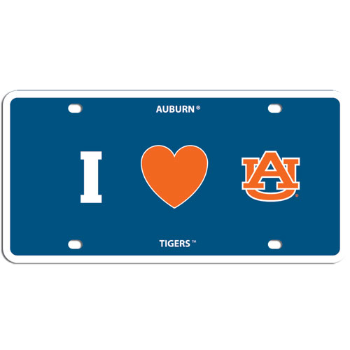 Auburn Tigers Heart Plate - Show your love for your team with our Auburn Tigers I Heart styrene license plate. The plate comes with 4 suction cups for easy mounting to windows. Thank you for shopping with CrazedOutSports.com