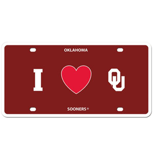 I Love Oklahoma Plate - Show your love for your school with our Oklahoma Sooners I Heart styrene license plate. The plate comes with 4 suction cups for easy mounting to windows. Thank you for shopping with CrazedOutSports.com