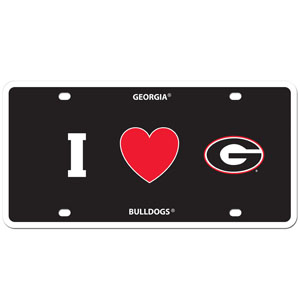 I Love Georgia Bulldogs Plate - Show your love for your school with our Georgia Bulldogs styrene license plate features a wild flame design around the team logo. The Georgia Bulldogs license plate comes with 4 suction cups for easy mounting to windows. Thank you for shopping with CrazedOutSports.com
