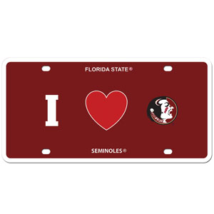 I Love Florida State Seminoles Plate - Show your love for your school with our Florida St. Seminoles styrene license plate features a wild flame design around the Florida State Seminoles team logo. The plate comes with 4 suction cups for easy mounting to windows. Thank you for shopping with CrazedOutSports.com