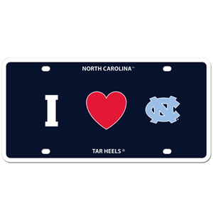 I Love N. Carolina Plate - Show your love for your school with our N. Carolina Tar Heels styrene license plate features a wild flame design around the team logo. The plate comes with 4 suction cups for easy mounting to windows. Thank you for shopping with CrazedOutSports.com