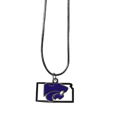Kansas St. Wildcats State Charm Necklace - Get in on the trend! State themes are a trend that just keeps getting more popular and these necklaces take the state style and give it a sporty twist with a Kansas St. Wildcats added to the state outline charm. The Kansas St. Wildcats State Charm Necklace comes on a snake chain that is 22 inches long.