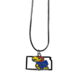 Kansas Jayhawks State Charm Necklace - Get in on the trend! State themes are a trend that just keeps getting more popular and these necklaces take the state style and give it a sporty twist with a Kansas Jayhawks added to the state outline charm. The Kansas Jayhawks State Charm Necklace come on a snake chain that is 22 inches long.