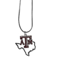 Texas A and M Aggies State Charm Necklace - Get in on the trend! State themes are a trend that just keeps getting more popular and these necklaces take the state style and give it a sporty twist with a Texas A & M Aggies added to the state outline charm. The come on a snake chain that is 22 inches long.
