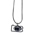 Penn St. Nittany Lions State Charm Necklace - Get in on the trend! State themes are a trend that just keeps getting more popular and these necklaces take the state style and give it a sporty twist with a Penn St. Nittany Lions added to the state outline charm. The come on a snake chain that is 22 inches long.