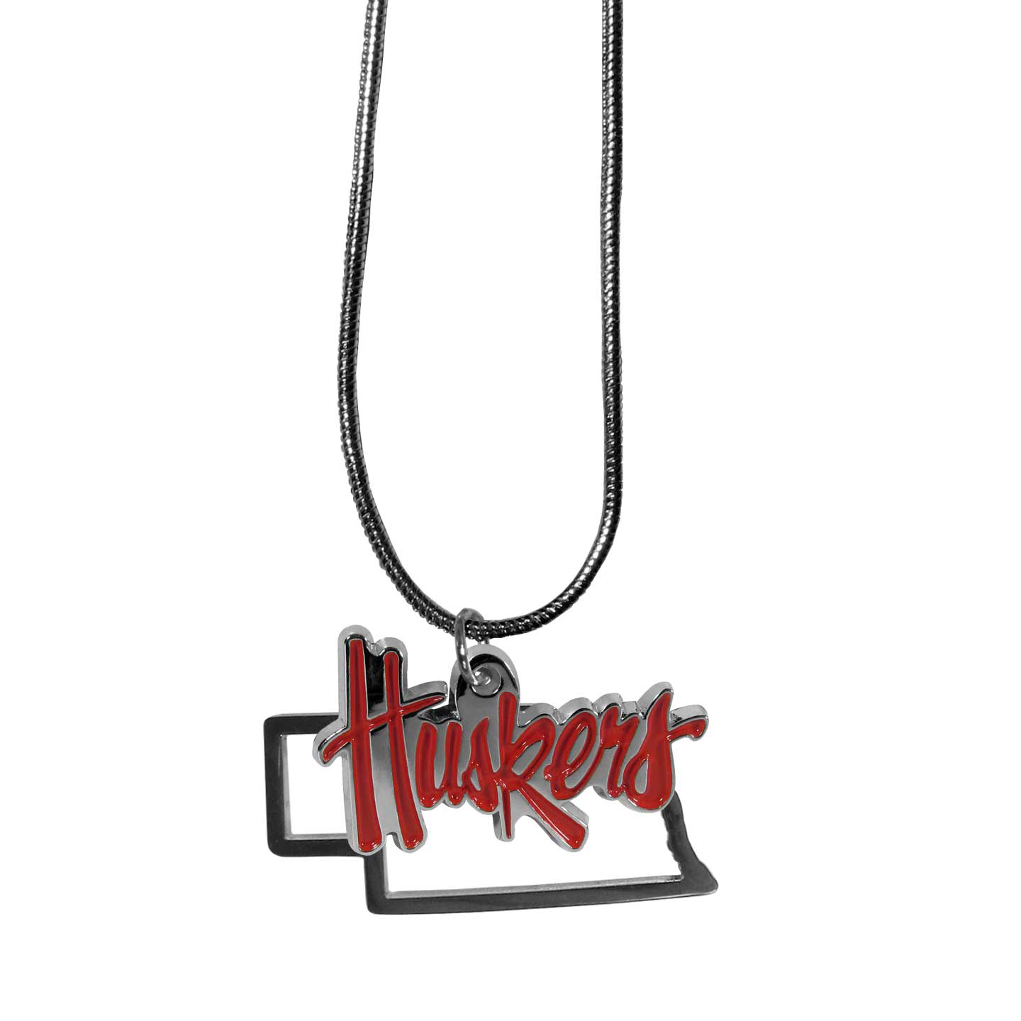 Nebraska Cornhuskers State Charm Necklace - Get in on the trend! State themes are a trend that just keeps getting more popular and these necklaces take the state style and give it a sporty twist with a Nebraska Cornhuskers added to the state outline charm. The come on a snake chain that is 22 inches long.