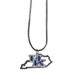 Kentucky Wildcats State Charm Necklace - Get in on the trend! State themes are a trend that just keeps getting more popular and these necklaces take the state style and give it a sporty twist with a Kentucky Wildcats added to the state outline charm. The come on a snake chain that is 22 inches long.