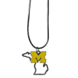 Michigan Wolverines State Charm Necklace - Get in on the trend with this Michigan Wolverines State Charm Necklace! State themes are a trend that just keeps getting more popular and these necklaces take the state style and give it a sporty twist with a Michigan Wolverines added to the state outline charm. The Michigan Wolverines State Charm Necklace comes on a snake chain that is 22 inches long.