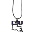 LSU Tigers State Charm Necklace - Get in on the trendwith this LSU Tigers State Charm Necklace! State themes are a trend that just keeps getting more popular and these necklaces take the state style and give it a sporty twist with a LSU Tigers added to the state outline charm. The LSU Tigers State Charm Necklace come on a snake chain that is 22 inches long.