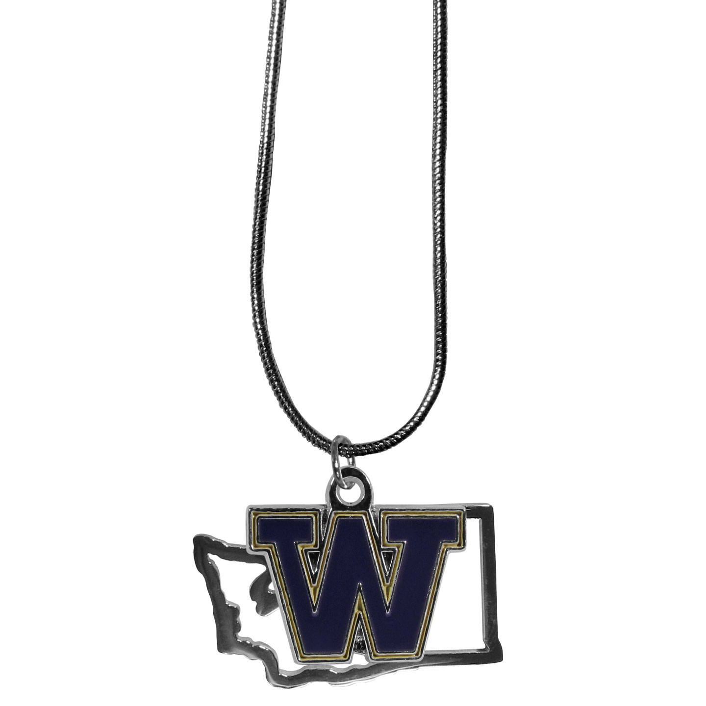 Washington Huskies State Charm Necklace - Get in on the trend! State themes are a trend that just keeps getting more popular and these necklaces take the state style and give it a sporty twist with a Washington Huskies added to the state outline charm. The come on a snake chain that is 22 inches long.