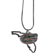 Florida Gators State Charm Necklace - Get in on the trend! State themes are a trend that just keeps getting more popular and these necklaces take the state style and give it a sporty twist with a Florida Gators added to the state outline charm. The come on a snake chain that is 22 inches long.