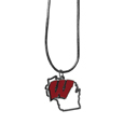 Wisconsin Badgers State Charm Necklace - Get in on the trend! State themes are a trend that just keeps getting more popular and these necklaces take the state style and give it a sporty twist with a Wisconsin Badgers added to the state outline charm. The come on a snake chain that is 22 inches long.