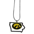 Iowa Hawkeyes State Charm Necklace - Get in on the trend! State themes are a trend that just keeps getting more popular and this Iowa Hawkeyes State Charm Necklace necklaces takes the state style and give it a sporty twist with a Iowa Hawkeyes added to the state outline charm. The come on a snake chain that is 22 inches long.