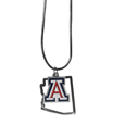 Arizona Wildcats State Charm Necklace - Get in on the trend! State themes are a trend that just keeps getting more popular and these necklaces take the state style and give it a sporty twist with a Arizona Wildcats added to the state outline charm. The come on a snake chain that is 22 inches long.