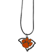 Clemson Tigers State Charm Necklace - Get in on the trend! State themes are a trend that just keeps getting more popular and these necklaces take the state style and give it a sporty twist with a Clemson Tiger added to the state outline charm. The come on a snake chain that is 22 inches long.