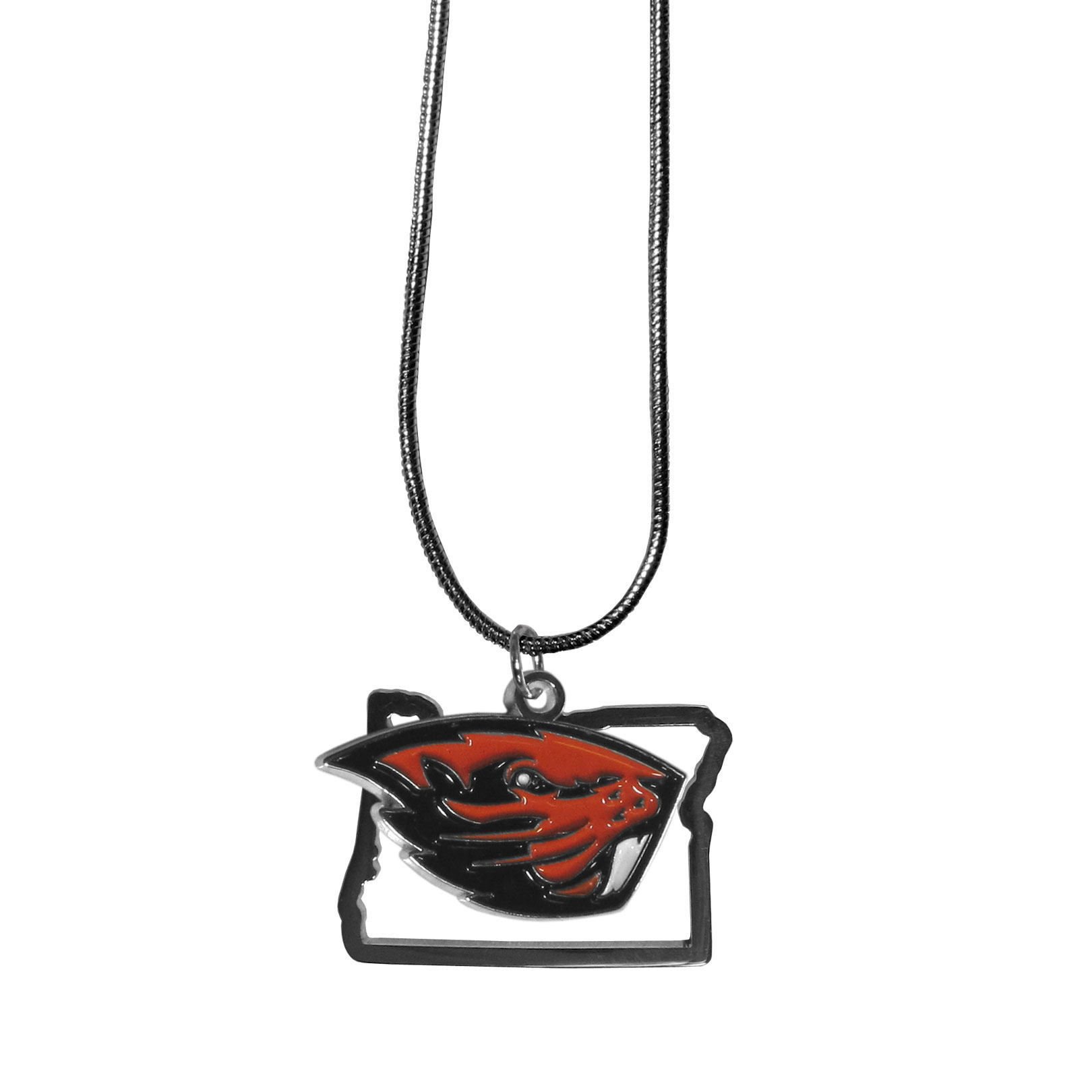 Oregon St. Beavers State Charm Necklace - Get in on the trend! State themes are a trend that just keeps getting more popular and these necklaces take the state style and give it a sporty twist with a Oregon St. Beavers added to the state outline charm. The come on a snake chain that is 22 inches long.
