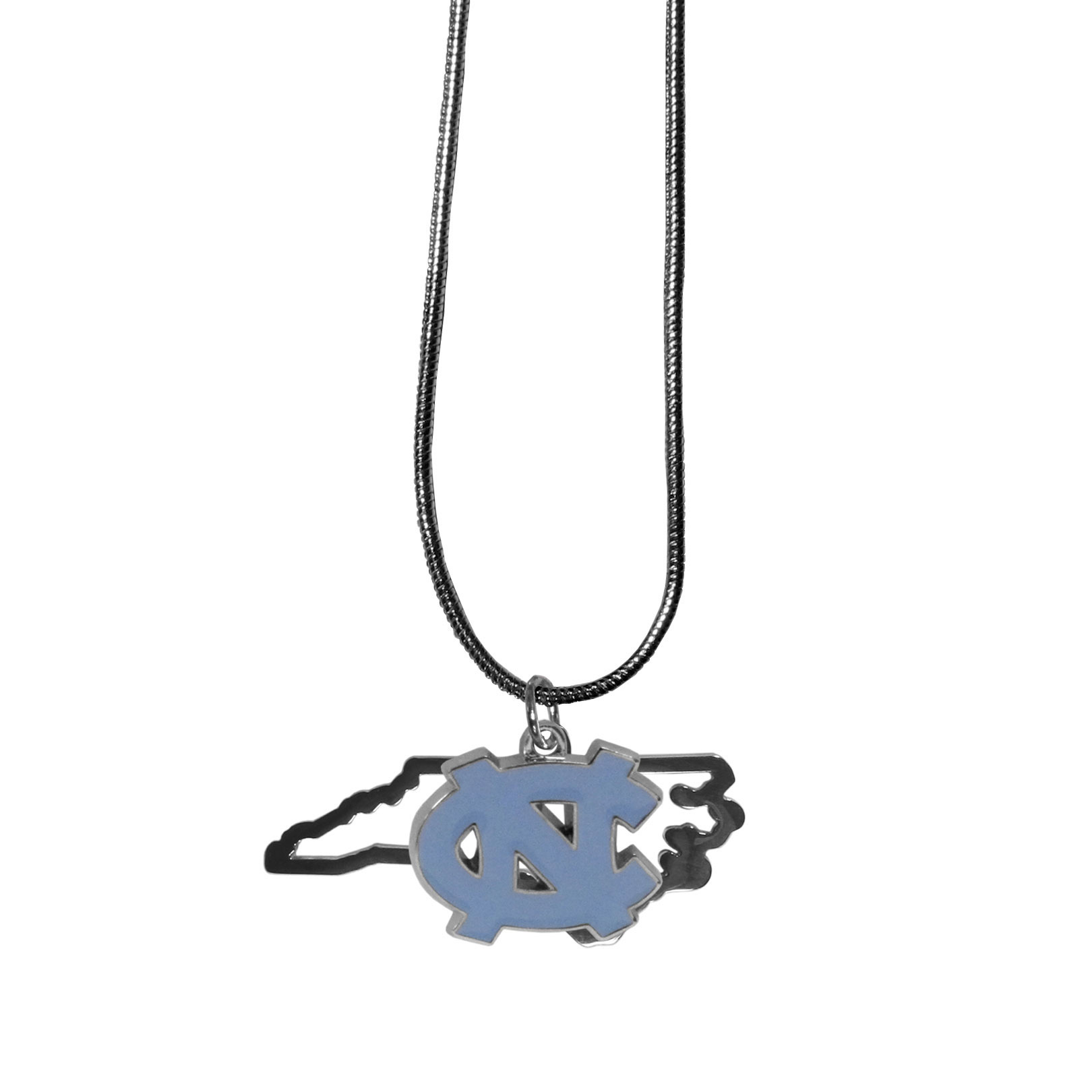 N. Carolina Tar Heels State Charm Necklace - Get in on the trend! State themes are a trend that just keeps getting more popular and these necklaces take the state style and give it a sporty twist with a N. Carolina Tar Heels added to the state outline charm. The come on a snake chain that is 22 inches long.