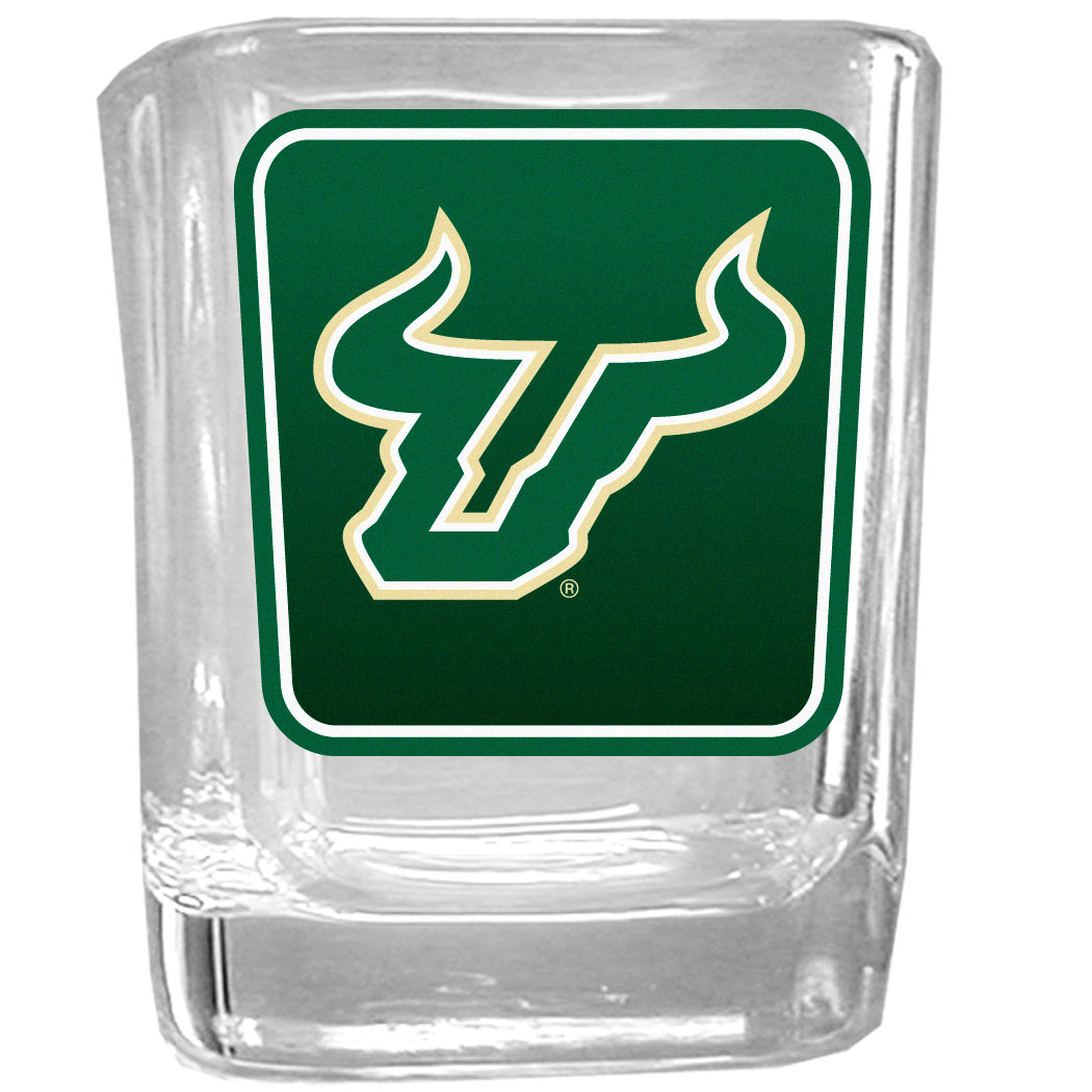 S. Florida Bulls Square Glass Shot Glass - Our glass shot glasses are perfect for collectors or any game day event. The 2 ounce glasses feature bright, vidid digital S. Florida Bulls graphics.