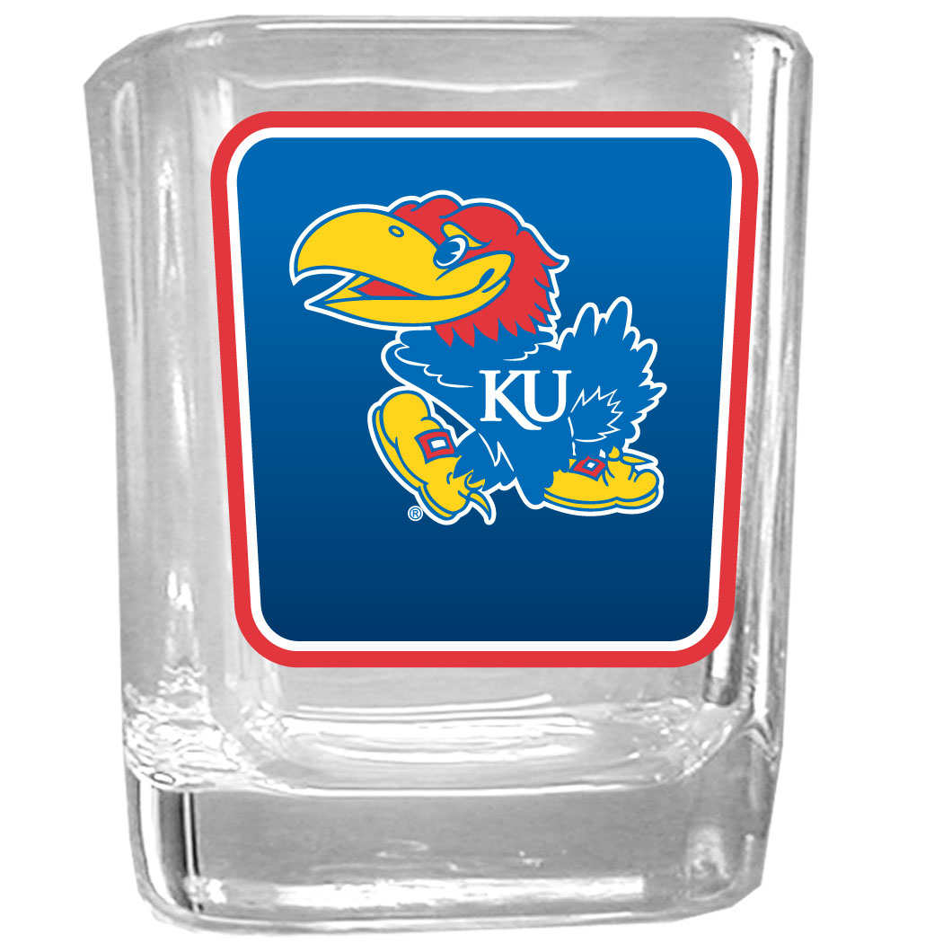Kansas Jayhawks Square Glass Shot Glass - Our glass shot glasses are perfect for collectors or any game day event. The 2 ounce glasses feature bright, vidid digital Kansas Jayhawks graphics.