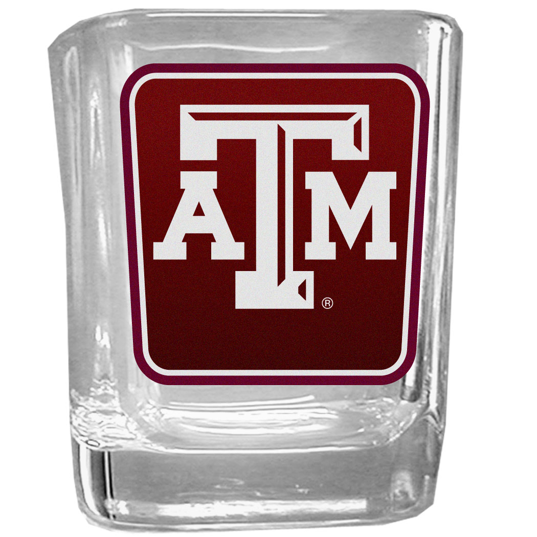 Texas A and M Aggies Square Glass Shot Glass - Our glass shot glasses are perfect for collectors or any game day event. The 2 ounce glasses feature bright, vidid digital Texas A & M Aggies graphics.