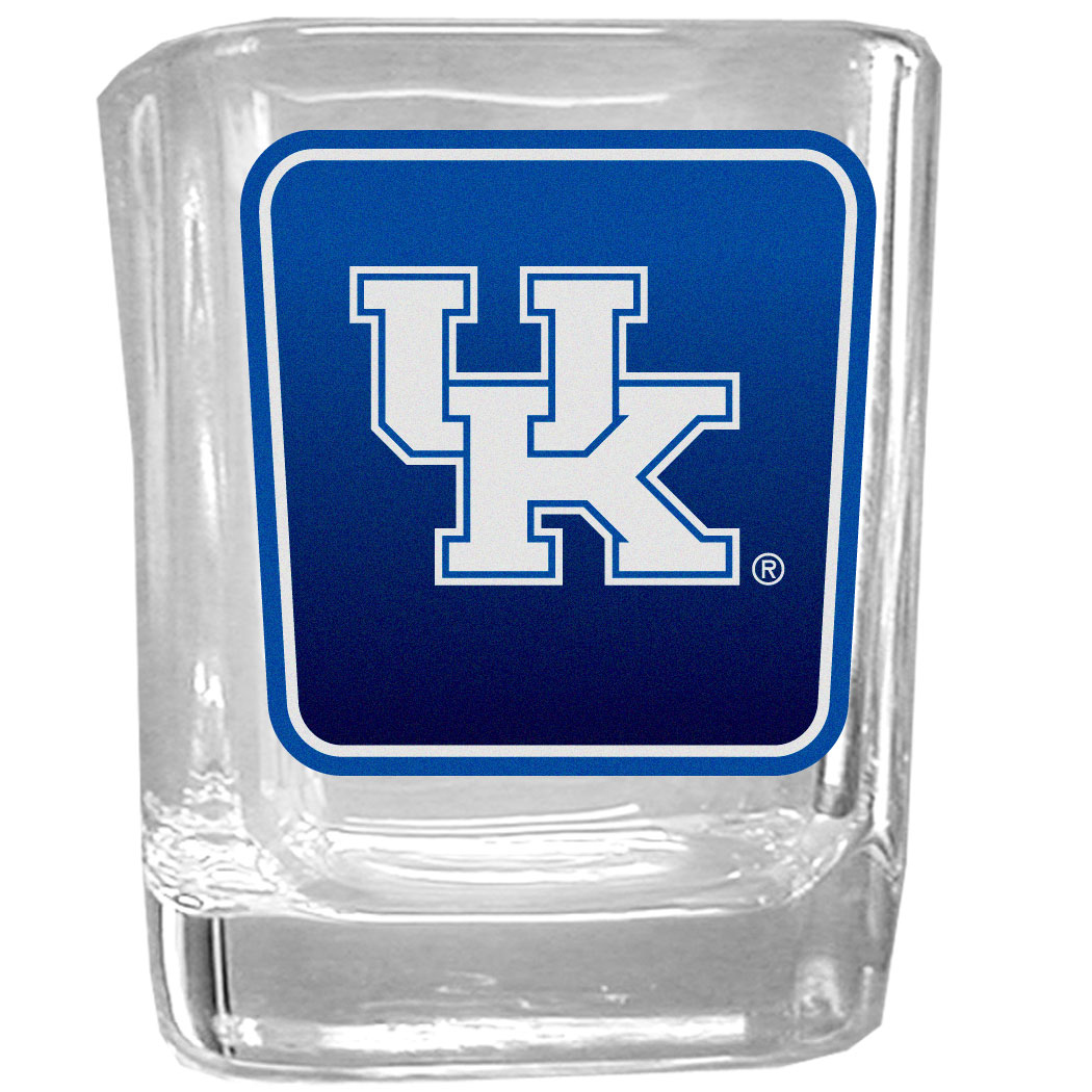 Kentucky Wildcats Square Glass Shot Glass - Our glass shot glasses are perfect for collectors or any game day event. The 2 ounce glasses feature bright, vidid digital Kentucky Wildcats graphics.