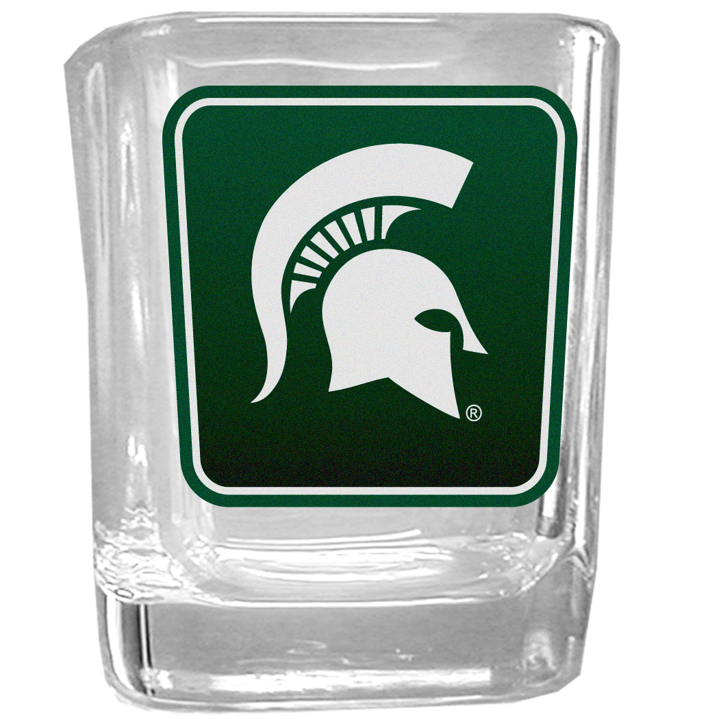 Michigan St. Spartans Square Glass Shot Glass - Our glass shot glasses are perfect for collectors or any game day event. The 2 ounce glasses feature bright, vidid digital Michigan St. Spartans graphics.