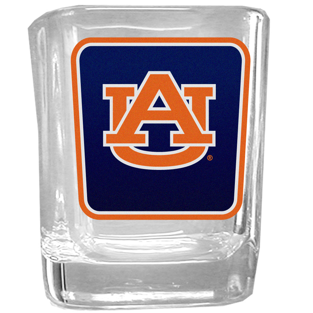 Auburn Tigers Square Glass Shot Glass - Our glass shot glasses are perfect for collectors or any game day event. The 2 ounce glasses feature bright, vidid digital Auburn Tigers graphics.
