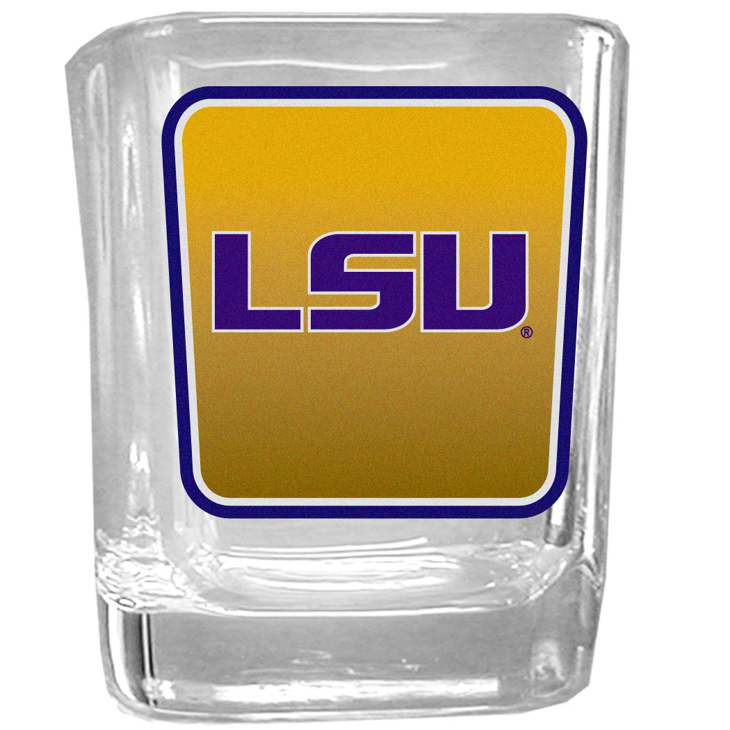 LSU Tigers Square Glass Shot Glass - Our glass shot glasses are perfect for collectors or any game day event. The 2 ounce glasses feature bright, vidid digital LSU Tigers graphics.