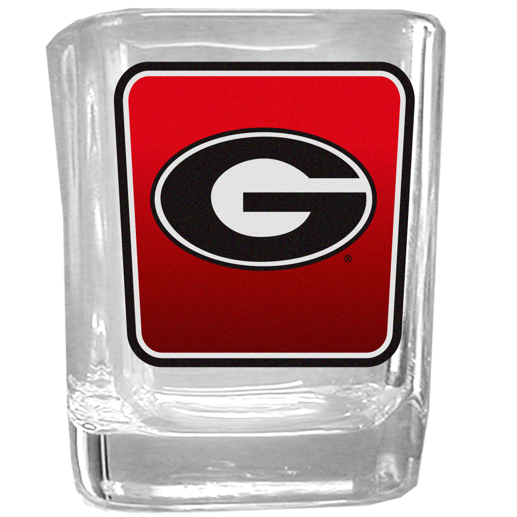 Georgia Bulldogs Square Glass Shot Glass - Our glass shot glasses are perfect for collectors or any game day event. The 2 ounce glasses feature bright, vidid digital Georgia Bulldogs graphics.