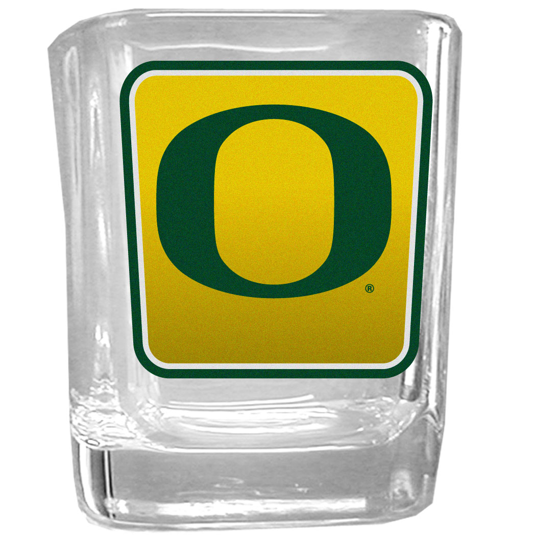 Oregon Ducks Square Glass Shot Glass - Our glass shot glasses are perfect for collectors or any game day event. The 2 ounce glasses feature bright, vidid digital Oregon Ducks graphics.