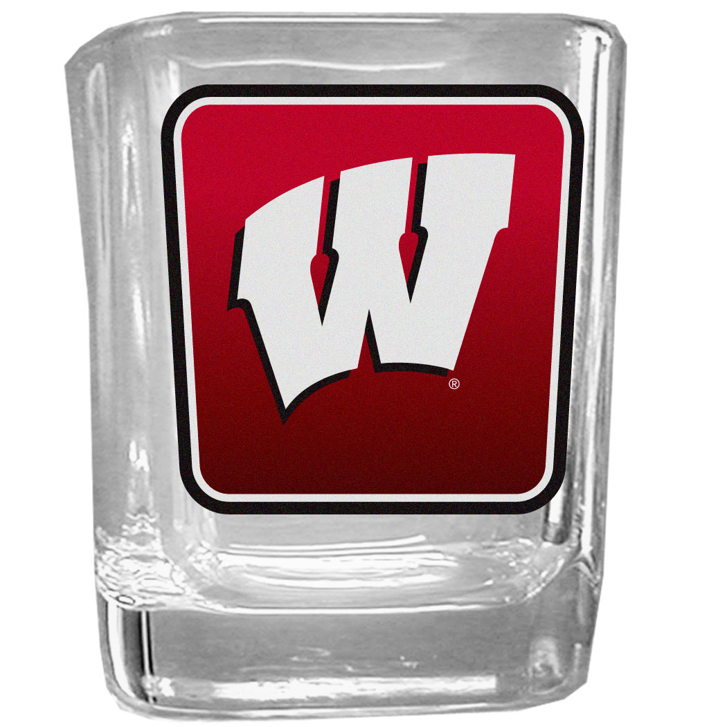 Wisconsin Badgers Square Glass Shot Glass - Our glass shot glasses are perfect for collectors or any game day event. The 2 ounce glasses feature bright, vidid digital Wisconsin Badgers graphics.