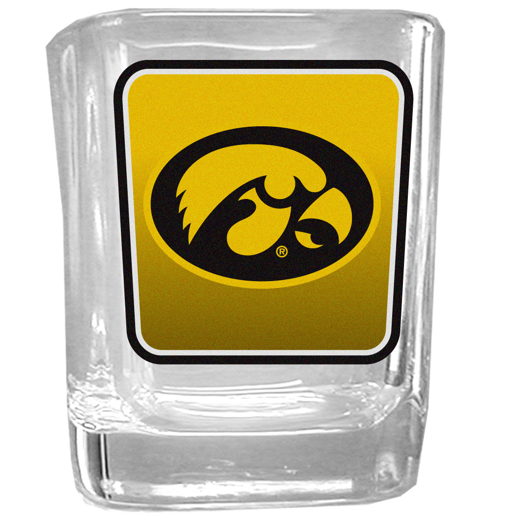 Iowa Hawkeyes Square Glass Shot Glass - Our glass shot glasses are perfect for collectors or any game day event. The 2 ounce glasses feature bright, vidid digital Iowa Hawkeyes graphics.