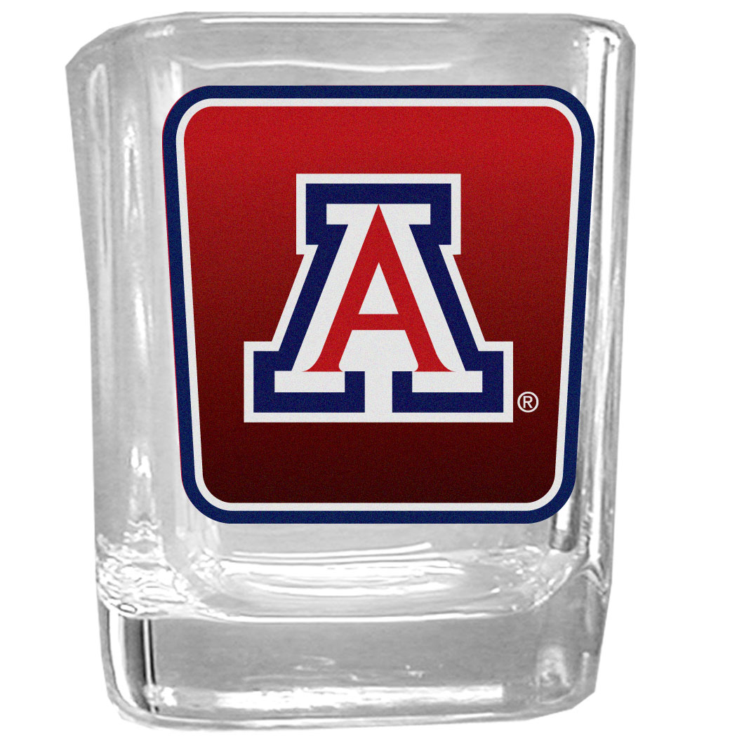 Arizona Wildcats Square Glass Shot Glass - Our glass shot glasses are perfect for collectors or any game day event. The 2 ounce glasses feature bright, vidid digital Arizona Wildcats graphics.