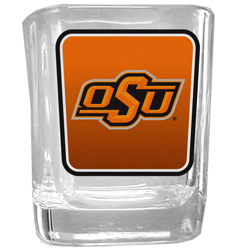Oklahoma St. Cowboys Square Glass Shot Glass - Our glass shot glasses are perfect for collectors or any game day event. The 2 ounce glasses feature bright, vidid digital Oklahoma St. Cowboys graphics.