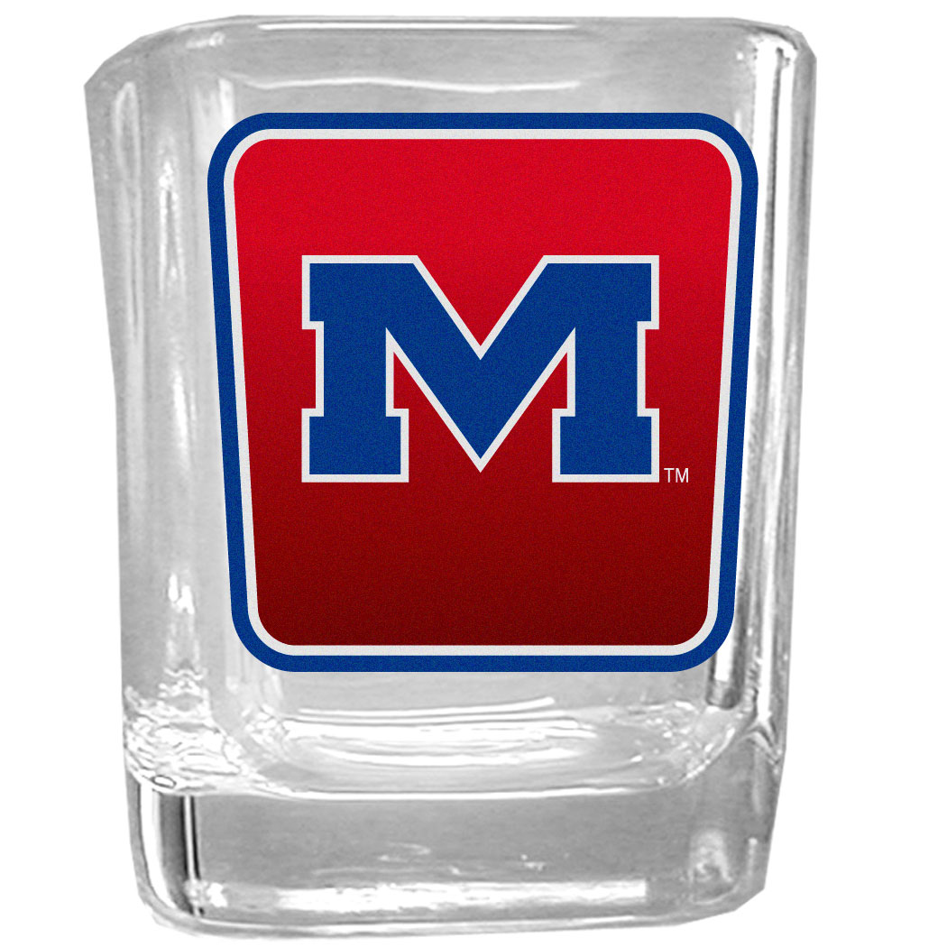 Mississippi Rebels Square Glass Shot Glass - Our glass shot glasses are perfect for collectors or any game day event. The 2 ounce glasses feature bright, vidid digital Mississippi Rebels graphics.