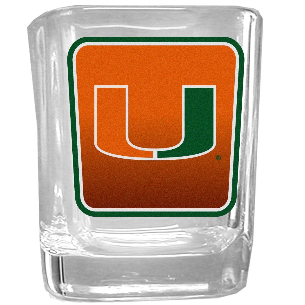 Miami Hurricanes Square Glass Shot Glass - Our glass shot glasses are perfect for collectors or any game day event. The 2 ounce glasses feature bright, vidid digital Miami Hurricanes graphics.