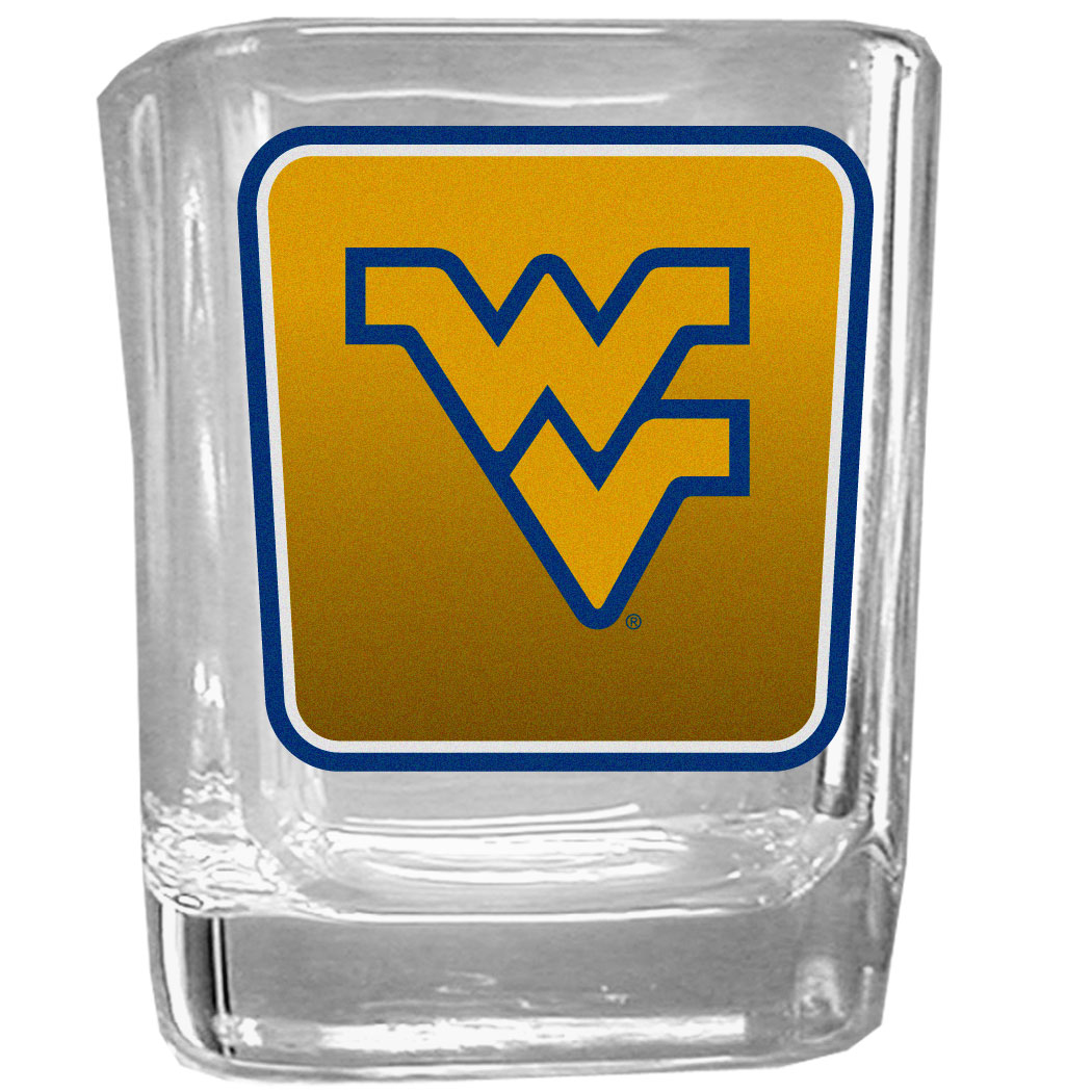 W. Virginia Mountaineers Square Glass Shot Glass - Our glass shot glasses are perfect for collectors or any game day event. The 2 ounce glasses feature bright, vidid digital W. Virginia Mountaineers graphics.