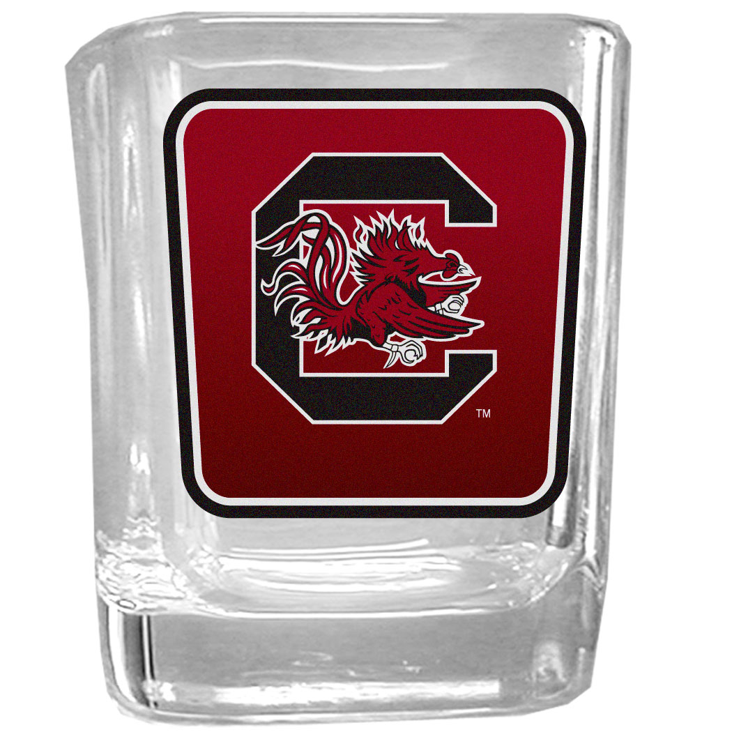 S. Carolina Gamecocks Square Glass Shot Glass - Our glass shot glasses are perfect for collectors or any game day event. The 2 ounce glasses feature bright, vidid digital S. Carolina Gamecocks graphics.