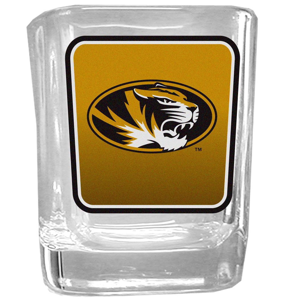 Missouri Tigers Square Glass Shot Glass - Our glass shot glasses are perfect for collectors or any game day event. The 2 ounce glasses feature bright, vidid digital Missouri Tigers graphics.