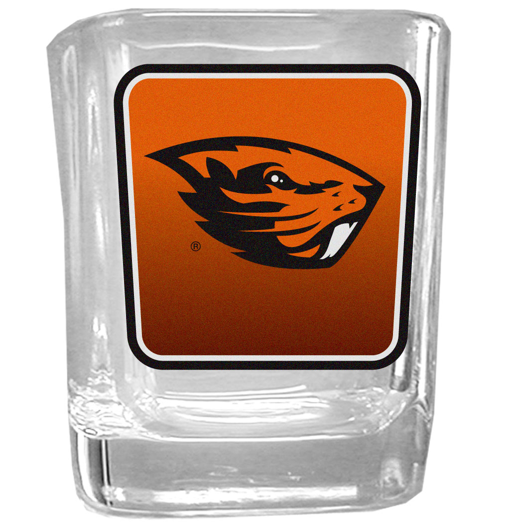 Oregon St. Beavers Square Glass Shot Glass - Our glass shot glasses are perfect for collectors or any game day event. The 2 ounce glasses feature bright, vidid digital Oregon St. Beavers graphics.